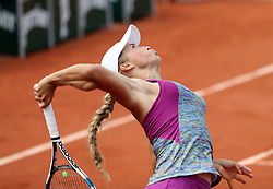 June 3, 2018 - Paris, France - YULIA PUTINSEVA of the Republic of Kazakhstan plays against Barbora Strycova of the Czech Republic during their 8th final match of the French Tennis Open 2018 at Roland Garros.  Putintseva won 6-4, 6-3. (Credit Image: © Maya Vidon-White via ZUMA Wire)