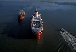 Aerial view of tankers