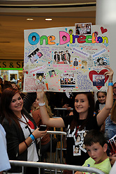 "© Licensed to London News Pictures. 15/09/2011.Lakeside,Essex, UK.One Direction at Lakeside,Essex to sign copies of their new book ""Dare to Dream"".  Liam, Harry, Zayn, Louis and Niall showed off the new book at   Lakeside's Central Atrium today (15.09.2011).Fans.Photo credit : Grant Falvey/LNP"