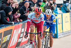 Nils Politt (GER) of Team Katusha - Alpecin (WT) in front of Philippe Gilbert (BEL) of Deceuninck - Quick Step (WT)during the 2019 Paris-Roubaix (1.UWT) with 257 km racing from Compiègne to Roubaix, France. 14th april 2019. Picture: Pim Nijland | Peloton Photos  <br /> <br /> All photos usage must carry mandatory copyright credit (Peloton Photos | Pim Nijland)