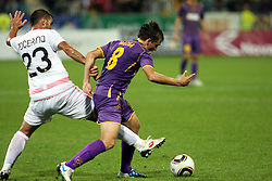 Antonio Nocerino of Palermo vs Dejan Mezga of Maribor during the UEFA Europa League play-offs second leg match between NK Maribor and US Citta di Palermo at Ljudski vrt Stadium on August 26, 2010 in Maribor, Slovenia. Maribor defeated Palermo 3-2 but Palermo won in total 5-3 and qualified for Europa league. (Photo by Marjan Kelner / Sportida)