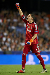September 19, 2018 - Valencia, Spain - Wojciech Szczesny celebrates victory after Group H match of the UEFA Champions League between Valencia CF and Juventus at Mestalla Stadium on September 19, 2018 in Valencia, Spain. (Credit Image: © Jose Breton/NurPhoto/ZUMA Press)