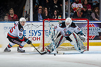 KELOWNA, BC - JANUARY 11: Tyson Feist #25 looks for the pass by Cole Schwebius #31 of the Kelowna Rockets against the Kamloops Blazers at Prospera Place on January 11, 2020 in Kelowna, Canada. (Photo by Marissa Baecker/Shoot the Breeze)