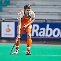 ROTTERDAM - HOCKEY -  Jelle Galema tijdens de oefenwedstrijd tussen de mannen van Nederland en Engeland (2-1) . FOTO KOEN SUYK