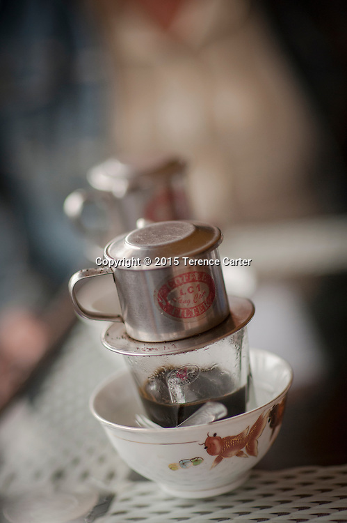 Vietnamese coffee, served with sweet condensed milk in the markets of Sapa, Vietnam.
