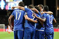 can - 02.05.2017 - Monaco - Champions League Semifinale -  Monaco-Juventus nella  foto: l'esultanza dei giocatori della Juventus