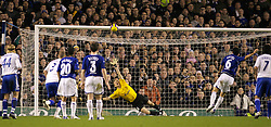 Liverpool, England - Wednesday, December 5, 2007: Everton's Mikel Arteta blasts the penalty kick over Zenit St. Petersburg's goalkeeper Vyacheslav Malafeev during the UEFA Cup Group A match at Goodison Park. (Photo by David Rawcliffe/Propaganda)