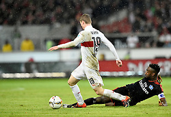 30.12.2015, Mercedes Benz Arena, Stuttgart, GER, 1. FBL, VfB Stuttgart vs Hamburger SV, 19. Runde, im Bild Zweikampf, Aktion Timo Werner VfB Stuttgart (links) gegen Johan Djourou HSV Hamburg Hamburger SV // during the German Bundesliga 19th round match between VfB Stuttgart and Hamburger SV at the Mercedes Benz Arena in Stuttgart, Germany on 2015/12/30. EXPA Pictures © 2016, PhotoCredit: EXPA/ Eibner-Pressefoto/ Weber<br /> <br /> *****ATTENTION - OUT of GER*****