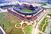 Aerial view of Texas Ranger Stadium outside Dallas Texas.