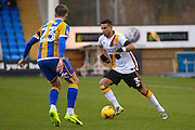 Shrewsbury Town midfielder Alex Rodman (23)  is taken on by Bradford City defender James Meredith (3)  during the EFL Sky Bet League 1 match between Shrewsbury Town and Bradford City at Greenhous Meadow, Shrewsbury, England on 14 January 2017. Photo by Simon Davies.
