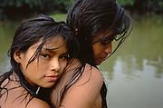 Machiguenga Indians at River<br /> Timpia Community<br /> Lower Urubamba River. Amazon Rain Forest,  PERU<br /> South America