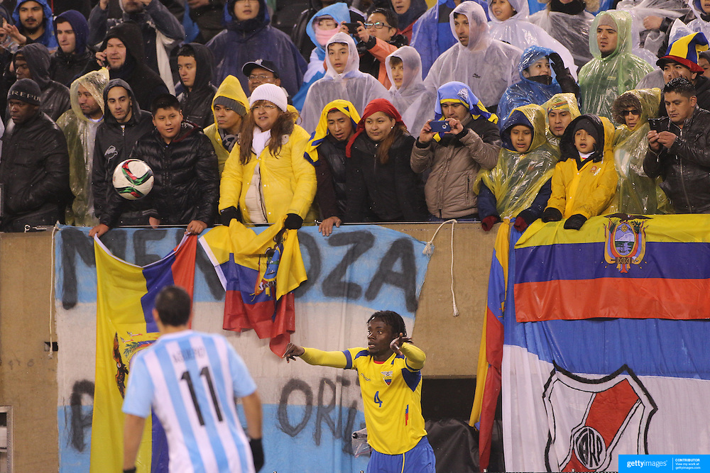 Juan Paredes, Ecuador, takes a throw in during the Argentina Vs Ecuador International friendly football match at MetLife Stadium, New Jersey. USA. 31st march 2015. Photo Tim Clayton