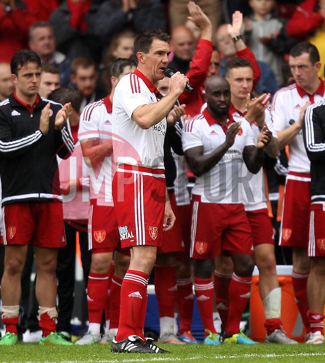 Sheffield United's Chris Morgan addresses the crowd after his testimonial - Mandatory by-line: Robbie Stephenson/JMP - 26/07/2015 - SPORT - FOOTBALL - Sheffield,England - Bramall Lane - Sheffield United v Newcastle United - Pre-Season Friendly