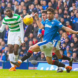 Rangers v Celtic Scottish Premiership 11 March 2018; Odsonne &Eacute;douard (Celtic, 22) scores during the  Rangers v Celtic Scottish Premiership match played at Ibrox Stadium, Glasgow; <br /> <br /> &copy; Chris McCluskie | SportPix.org.uk
