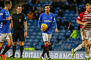 Connor Goldson of Rangers unimpressed with the refs decision to award a foul during the Ladbrokes Scottish Premiership match between Rangers and Hamilton Academical FC at Ibrox, Glasgow, Scotland on 16 December 2018.