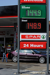 © Licensed to London News Pictures. 29/03/2012. Orpington, UK. High fuel prices at a Texaco petrol filling garage in Orpington,South London on March 29, 2012. Photo credit : Grant Falvey/LNP