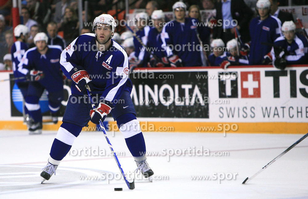 Tomaz Razingar of Slovenia at ice-hockey match Slovenia vs Latvia at Preliminary Round (group B) of IIHF WC 2008 in Halifax, on May 06, 2008 in Metro Center, Halifax, Nova Scotia, Canada. Latvia won 3:0. (Photo by Vid Ponikvar / Sportal Images)Slovenia played in old replika jerseys from the year 1966, when Yugoslavia hosted the World Championship in Ljubljana.