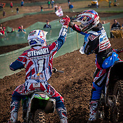 Despite finishing 2nd and 3rd, Stewart and Villopoto celebrated together after the first race knowing that their 2-3 finishes put the United States atop the standings.