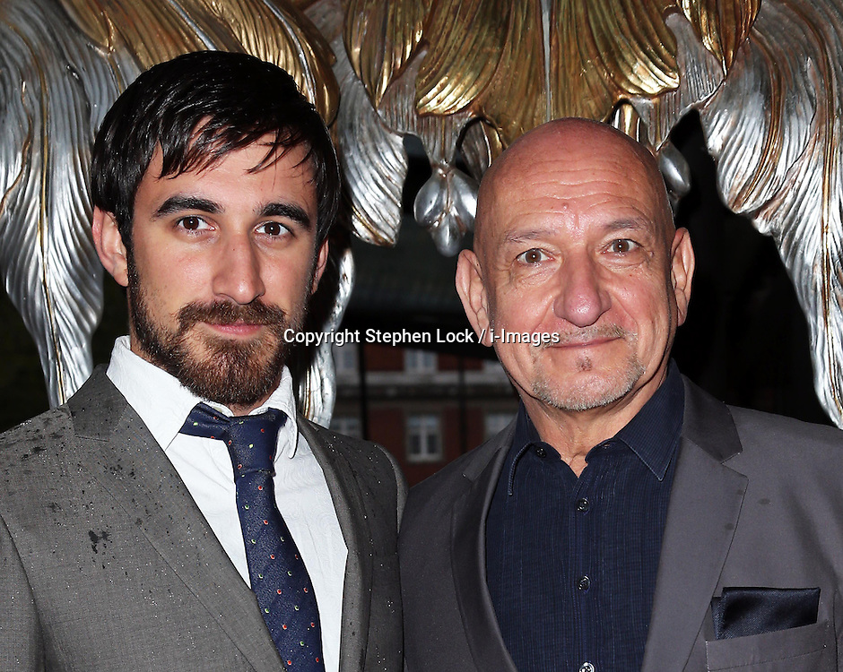 Sir Ben Kingsley and his son Ferdinand Kingsley arriving at a special ballet version of The Great Gatsby at the  Sadler's Wells Theatre in London, Tuesday, 14th May 2013.  Photo by: Stephen Lock / i-Images