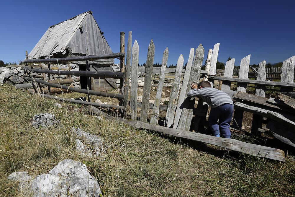Little Rajko Popovic at his family katun on Grabac, Pivska Planina, Durmitor, Montenegro.