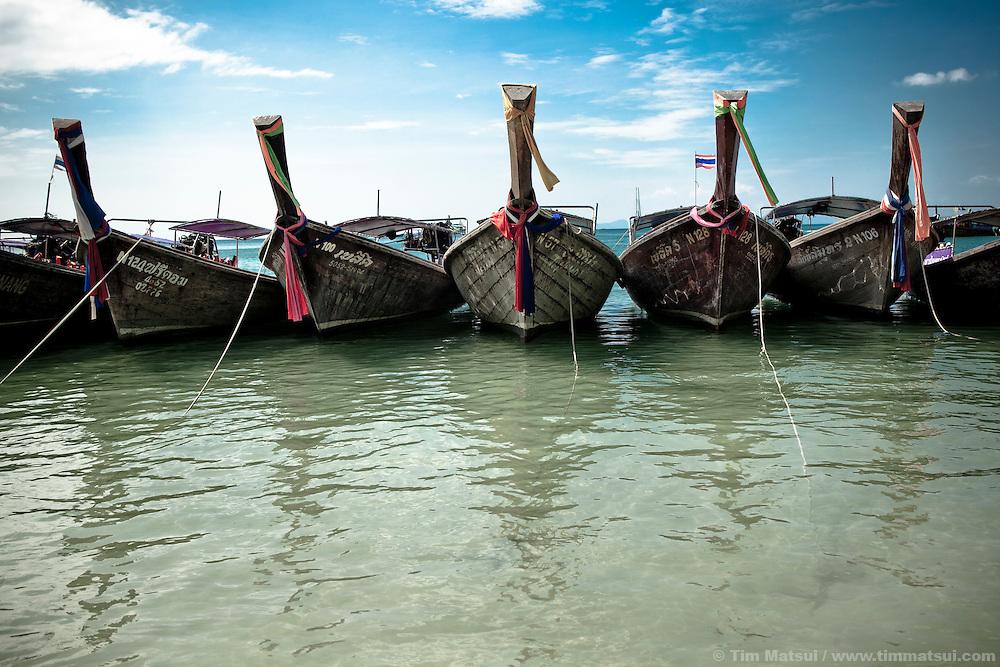 Longtail boats at anchor, Raileh, Thailand.