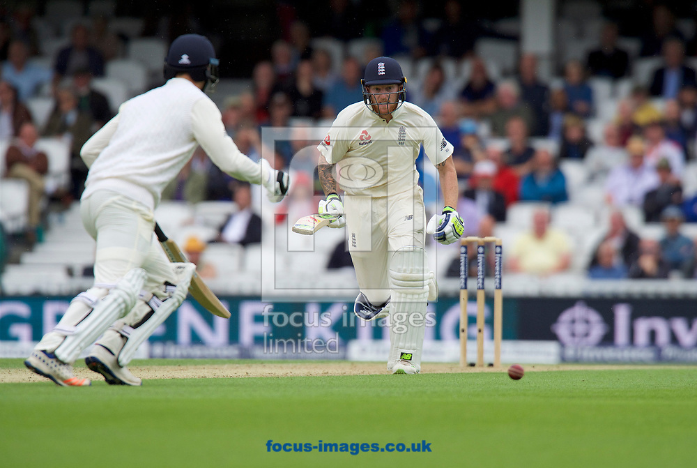 Ben Stokes of England runs for a single with Toby Rowland-Jones of England during the 100th Investec Test Match match at the Kia Oval, London<br /> Picture by Alan Stanford/Focus Images Ltd +44 7915 056117<br /> 28/07/2017