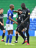 Football - 2019 / 2020 Championship - Cardiff City vs Charlton Athletic<br /> <br /> Curtis Nelson of Cardiff City & Mahamadou-Naby Sarr of Charlton elbow bump after the game ends in a draw , at the Cardiff City Stadium.<br /> <br /> COLORSPORT/WINSTON BYNORTH