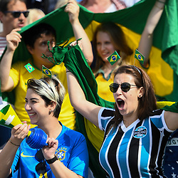 Fans of Brazil during the Women's World Cup match between Australia and Brazil at Stade de la Mosson on June 13, 2019 in Montpellier, France. (Photo by Alexandre Dimou/Icon Sport)