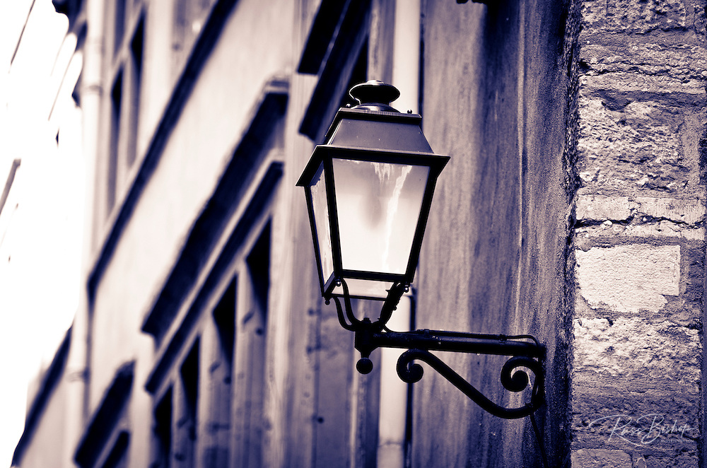 Street lamp in old town Vieux Lyon, France  (UNESCO World Heritage Site)
