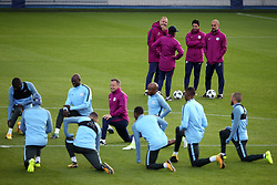 Manchester City manager Pep Guardiola watches over the training session - Mandatory by-line: Matt McNulty/JMP - 12/09/2017 - FOOTBALL - City Football Academy - Manchester, England - Feyenoord v Manchester City - Training Session - UEFA Champions League - Group F