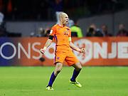 AMSTERDAM, NEDERL&Auml;NDERNA - 2017-10-10: Arjen Robben i Nederl&auml;nderna jublar efter att ha gjort 2-0 under FIFA 2018 World Cup Qualifier mellan Nederl&auml;nderna och Sverige p&aring; Amsterdam ArenA den 10 oktober, 2017 i Amsterdam, Nederl&auml;nderna. <br /> Foto: Nils Petter Nilsson/Ombrello<br /> ***BETALBILD***