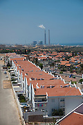 Elevated view of Ashkelon, Israel The power plant in the background