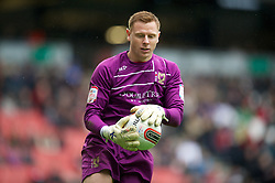 MILTON KEYNES, ENGLAND - Easter Monday, April 9, 2012: Milton Keynes Dons' goalkeeper David Martin in action against Tranmere Rovers during the Football League One match at the Stadium MK. (Pic by David Rawcliffe/Propaganda)