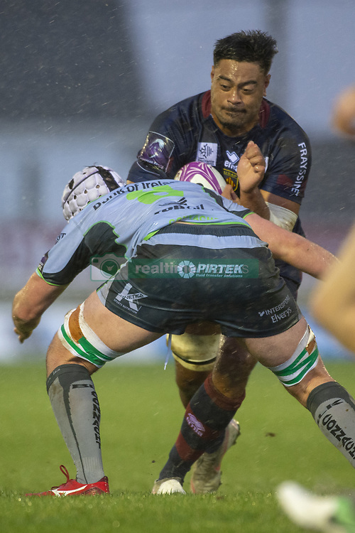 December 8, 2018 - Galway, Ireland - Mike Faleafa of Perpignan tackled by James Connolly of Connacht during the European Rugby Challenge Cup between Connacht Rugby and Parpignan at the Sportsground in Galway, Ireland on December 8, 2018  (Credit Image: © Andrew Surma/NurPhoto via ZUMA Press)