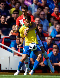 LIVERPOOL, ENGLAND - Sunday, June 3, 2018: Brazil's Philippe Coutinho Correia and Croatia's Šime Vrsaljko during an international friendly between Brazil and Croatia at Anfield. (Pic by David Rawcliffe/Propaganda)