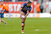 Leeds Rhinos centre Kallum Watkins (3) restarts the game  during the Betfred Super League match between Hull Kingston Rovers and Leeds Rhinos at the Lightstream Stadium, Hull, United Kingdom on 29 April 2018. Picture by Simon Davies.