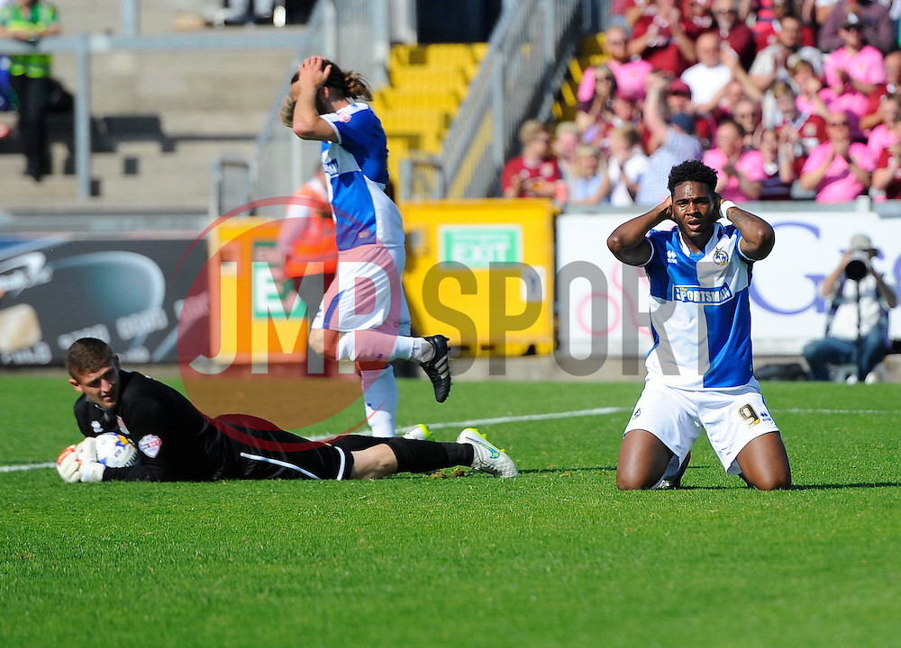 Ellis Harrison of Bristol Rovers reacts after begin denied by Adam Smith of Northampton Town  - Mandatory byline: Joe Meredith/JMP - 07966386802 - 08/08/2015 - FOOTBALL - Memorial Stadium -Bristol,England - Bristol Rovers v Northampton Town - Sky Bet League Two