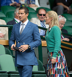 © London News Pictures. Bear Gryllls and his wife Shara sit down to watch Andrew Murray (GB) play Vasek Pospisil (CAN) in the men's Wimbledon Tennis Championships today. 07.07.2015. Photo credit: LNP