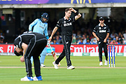 Matt Henry of New Zealand reacts after bowling a delivery to Jonny Bairstow of England during the ICC Cricket World Cup 2019 Final match between New Zealand and England at Lord's Cricket Ground, St John's Wood, United Kingdom on 14 July 2019.