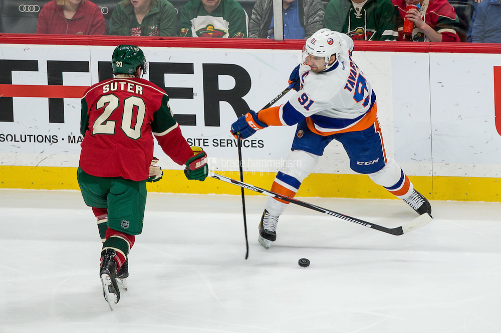 Dec 29, 2016; Saint Paul, MN, USA; New York Islanders forward John Tavares (91) breaks his stick in front of Minnesota Wild defenseman Ryan Suter (20) during the third period at Xcel Energy Center. The Wild defeated the Islanders 6-4. Mandatory Credit: Brace Hemmelgarn-USA TODAY Sports