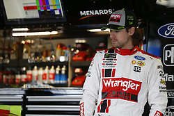 October 19, 2018 - Kansas City, Kansas, United States of America - Ryan Blaney (12) hangs out in the garage during practice for the Hollywood Casino 400 at Kansas Speedway in Kansas City, Kansas. (Credit Image: © Justin R. Noe Asp Inc/ASP via ZUMA Wire)