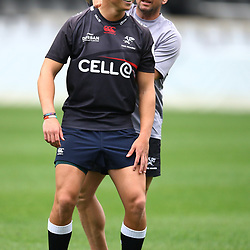 Curwin Bosch with Johan Pretorius Head Strength & Conditioning Coach of the Cell C Sharks during The Cell C Sharks training  session at Growthpoint Kings Park in Durban, South Africa. 14th September 2017(Photo by Steve Haag)<br /> <br /> images for social media must have consent from Steve Haag