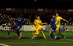 Tom Lockyer of Bristol Rovers tries to hook the ball towards goal - Mandatory byline: Robbie Stephenson/JMP - 07966 386802 - 26/12/2015 - FOOTBALL - Kingsmeadow Stadium - Wimbledon, England - AFC Wimbledon v Bristol Rovers - Sky Bet League Two