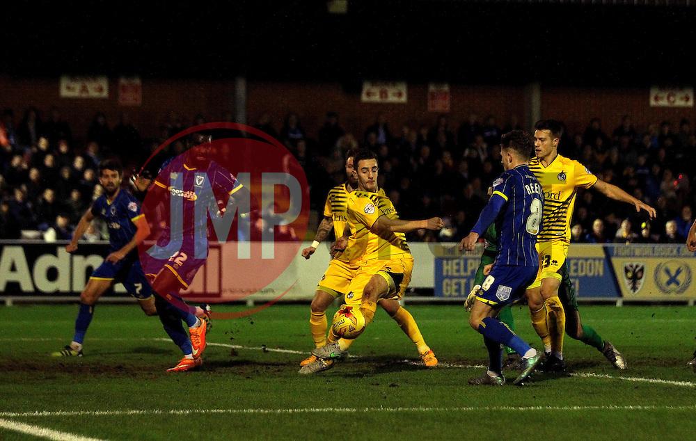 Tom Lockyer of Bristol Rovers tries to hook the ball towards goal - Mandatory byline: Robbie Stephenson/JMP - 07966 386802 - 26/12/2015 - FOOTBALL - Kingsmeadow Stadium - Wimbledon, England - AFC Wimbledon v Bristol Rovers - Sky Bet League Two
