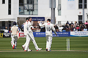 Sussex bowler Steve Magoffin celebrates taking the wicket of Middlesex batsman John Simpson during the LV County Championship Div 1 match between Sussex County Cricket Club and Middlesex County Cricket Club at the BrightonandHoveJobs.com County Ground, Hove, United Kingdom on 12 May 2015. Photo by Bennett Dean.