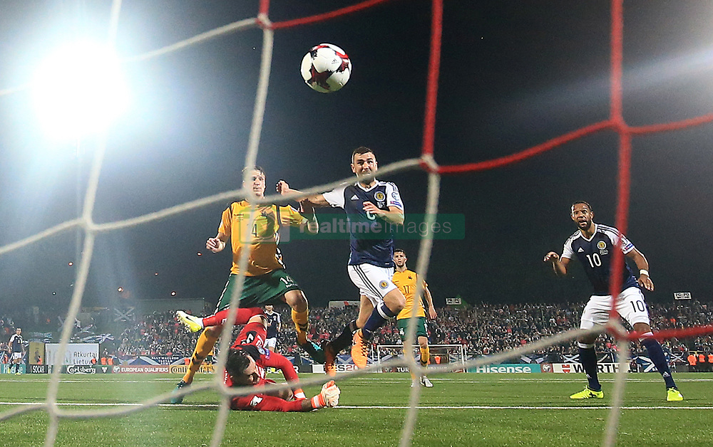 Scotland's James McArthur scores his side's third goal during the 2018 FIFA World Cup Qualifying, Group F match at the LFF Stadium, Vilnius.