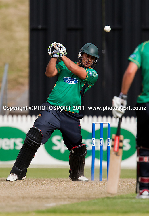 Stags' Kieran Noema-Barnett bats during the Ford Trophy Cricket - Northern Knights v Central Stags one day match, at Seddon Park, Hamilton, New Zealand, 11 December 2011. Photo: Stephen Barker/photosport.co.nz