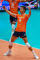 10-08-2019 NED: FIVB Tokyo Volleyball Qualification 2019 / Belgium - Netherlands, Rotterdam<br /> Third match pool B in hall Ahoy between Belgium vs. Netherlands (0-3) for one Olympic ticket / Thijs Ter Horst #4 of Netherlands