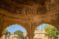 The interior of a stone gazebo along the edge of Gadisar Lake near Jaisalmer, Rajasthan, India.