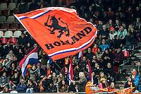 ROTTERDAM - Nederland - Zweden , Voetbal , Seizoen 2015/2016 , damesvoetbal , vrouwen , Olympisch kwalificatie toernooi , Sparta Stadion het Kasteel , 09-03-2016 , Sfeer in het stadion met de oranje Holland vlag